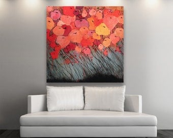 Original Poppy Painting #0094 - Poppies - Oil, Watercolor, Charcoal, painting - 4' X 4'