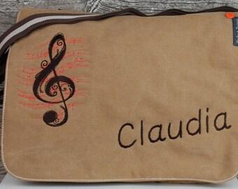 Note Pocket embroidered written Briefcase satchel diaper bag-Canvastasche