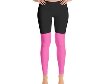 2 Tone Black/Hot Pink Leggings, Polyester and Spandex, Printed Leggings for Women