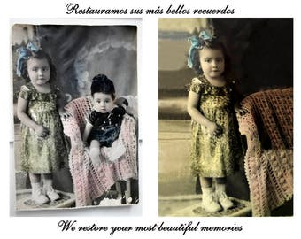 Photography restored, artistic restoration, Vintage photography, gift personalized, family history, old photo, made by hand