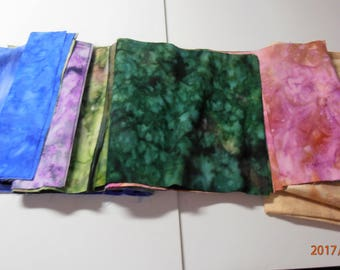 batik fabric 9 assorted colors 9 x 44 and one of 24 x 44 lt peach