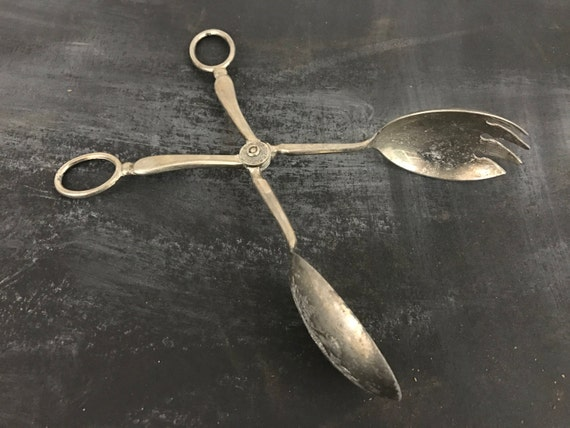 Tarnished Vintage Silver-plated Salad Tongs Eales 1779- Food Blog Photography Props for Styling