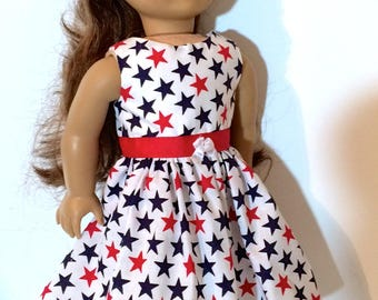 LAST ONE 18 Inch Doll Clothes  4th of July Dress w/Ribbon & White Bow Optional Red Mary Janes  Fits Like American Girl Doll ClothesU