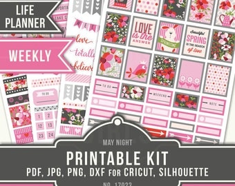 May Planner Stickers, Erin Condren Weekly Planner Stickers, May Weekly Kit, Flower Stickers, Spring Flower Planner Stickers, 17023