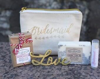 ONE Bridesmaid Gift Set - Bridesmaid makeup bag - asking bridesmaid - Will you be my bridesmaid - bridesmaid thank you present