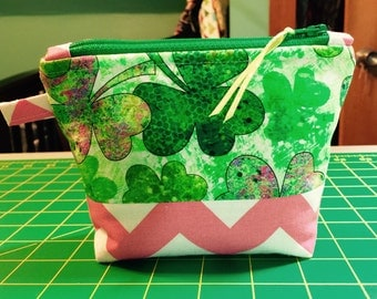 Shamrock  cosmetic bag  front and back pictured