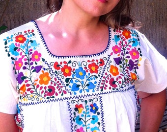 Mexican Embroidered Dress  Boho, Manta embroidered dress, Frida Kahlo Dress, hippie dress, mexican clothing, Shipping ALL the world.