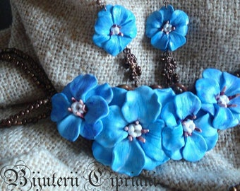 Polymer clay jewerly set BLUE FLOWERS Set necklace and earrings, Best gift for her