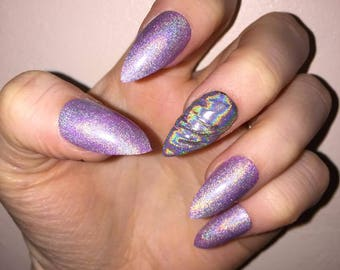 Holographic 3D unicorn horn and unicorn nails. Hand Painted false nails.