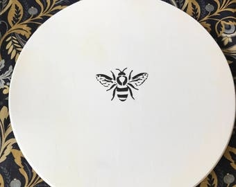 """15"""" Wood Lazy Susan Monogrammed, Bee, Hostess Gift, Bridal Shower Gift, Mother's Day, Wedding Gift"""