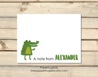 PRINTABLE Alligator stationery, Alligator Note Cards, Thank You Cards, Personalized Stationery, Note Cards, Baby Alligator / Digital File