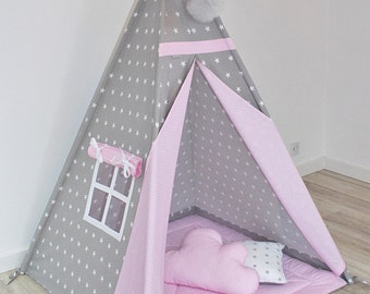 Teepee Set +cushions/pillows,  Playtent, Teepee tent, Tipi zelt, wigwam with mat, Stars with gray
