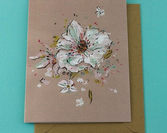 White Flower card - Blank Inside