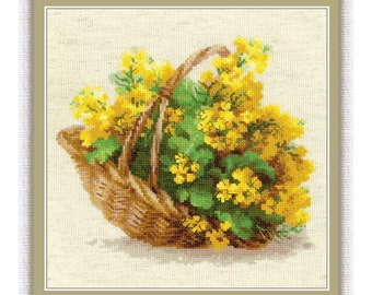 Counted Cross Stitch Kit - German colza (Riolis) - Floral cross stitch pattern - Basket of flowers cross stitch - Needlepoint kit