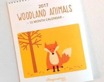 SALE 75% OFF - 2017 Calendar- Wall Calendar- Monthly calendar- 2017 Wall Calendar- Woodland Animals- Fox- Animal art-Wall Art -Woodland art