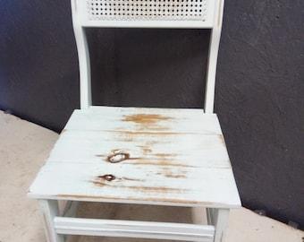 Shabby Chic Wicker Back Chair