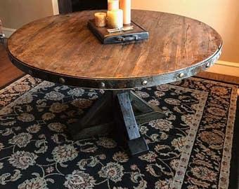 Salvaged Round Wood Dinning table