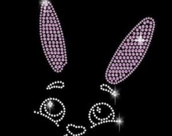 Easter Bunny Sweet Rhinestone Iron on Transfer                              B5BM