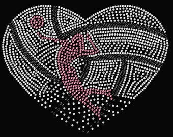 Rhinestone Volleyball Ladies  T Shirt  or Iron On Transfer                                          O7ZS