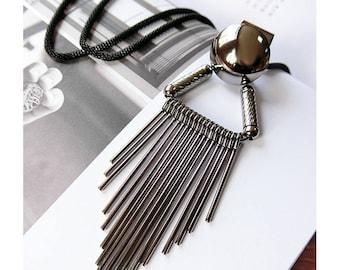 Punk Triangle Tassel Long Necklace