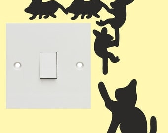 Cat & Mice light switch sticker/ Wall Art decal stickers