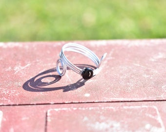 Swirl Button Ring