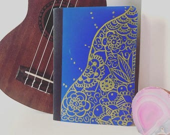 Mini Navy Blue Notebook with Gold Mandala Designs