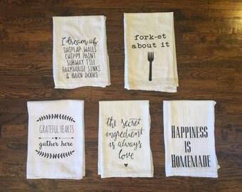 Flour Sack Towel - Set of 5 Tea Towel, Flour Sack Towel, Kitchen Towel, Gift