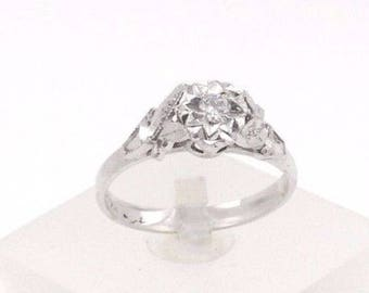 Handcrafted , Victorian Diamond Ring in 18K White Gold