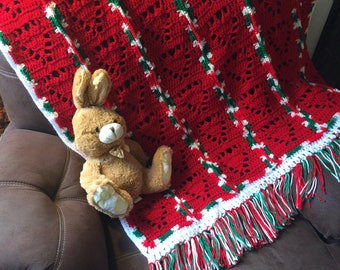 Crochet Afghan 51x40 throw blanket in candy cane colors!