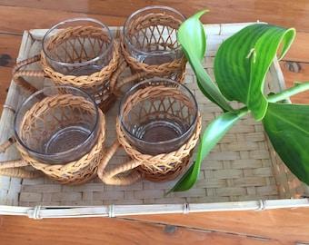 Vintage Wicker Glasses - Four Wicker Glass Holders with drinking glasses - Vintage Drinking Glasses - Tropical Glasses - Tiki glasses