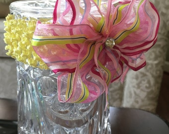 Pink Candy Stripes Head Bow