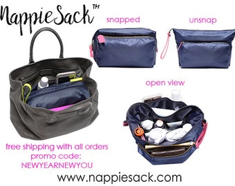 NappieSack is a organizer insert that your favorite handbag into a diaper bag.