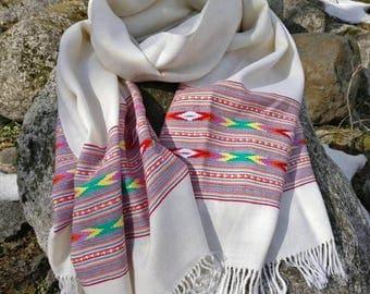 Free shipping! Ivory white wool scarf, blanket scarf,wrap,shawl, tribal scarf