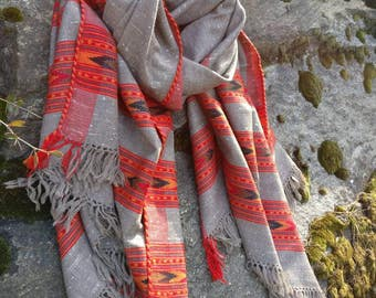 Free shipping! Tribal wool blanket scarf, handloomed scarf, oversized scarf .