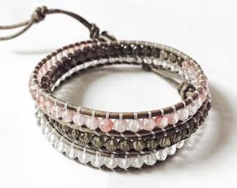 Handmade Smoky Quartz Triple Wrap Bracelet