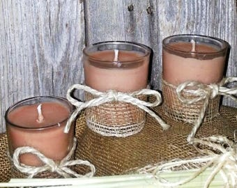 Peach Pecan Waffles, set of 3, scented candles, homemade candles, votive candles, rustic candles