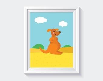 Kangaroo Printable, Kangaroo Print, Nursery Decor, Australian Animal Wall Art, Baby Animal Prints, Nursery Animal, Nursery Kids Room Print