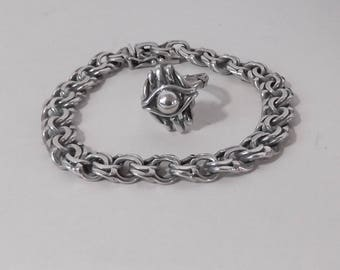 Set of silver bracelet with silver ring