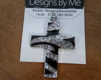 Black swirls silver and rhinestone cross pendant