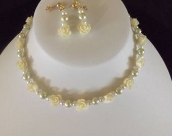 Rose and Pearl Necklace and Earring Set