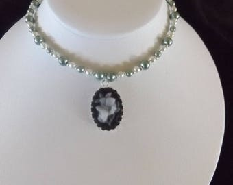 Black and White Cameo Pendant on Beaded Necklace