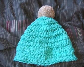 Aqua blue pompom hat