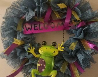 Welcome frog wreath