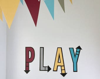 Wall letters 'Play' - Playroom Decor - Playroom Banner - Play letters
