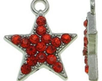 2 16x18mm Rhinestone Star Charms/Pendants, Red - Nickel, Lead and Cadmium Free - SKU 54761 x 2