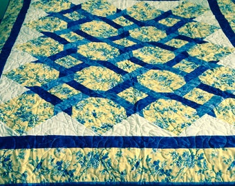 Handmade Quilt, Patchwork Quilt, Lap Quilt, Sofa Quilt, Blue and Yellow Quilt