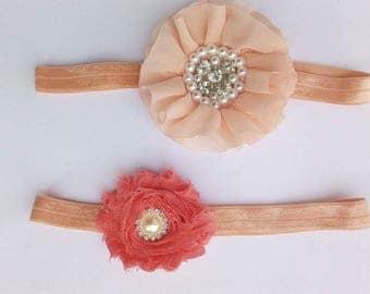 Newborn headband. Baby headband. Baby girl headband. Toddler headband. Shabby flower headband. Vintage headband. Peach, Orange headband
