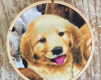 Golden Retriever puppy embroidery hoop wall hanging