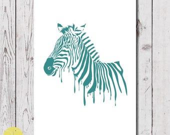 zebra wall art, digital download, A4 zebra posters, zebra set of 4 posters.